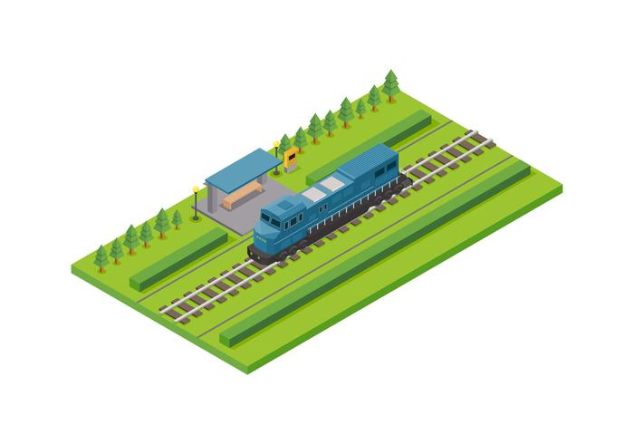 Isometric Locomotive Vector