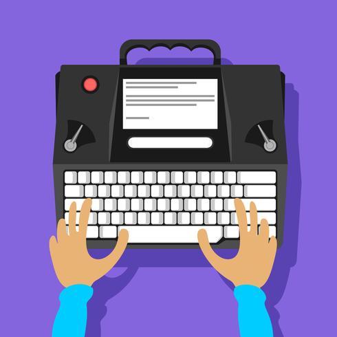 Vecteur de machine à écrire moderne noir