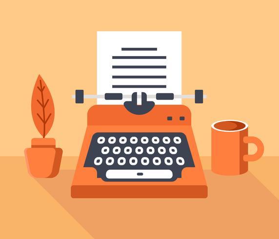 Illustration vectorielle de machine à écrire