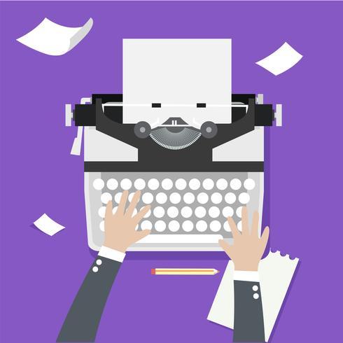 Mãos de homem, escrevendo um artigo sobre uma máquina de escrever Vintage