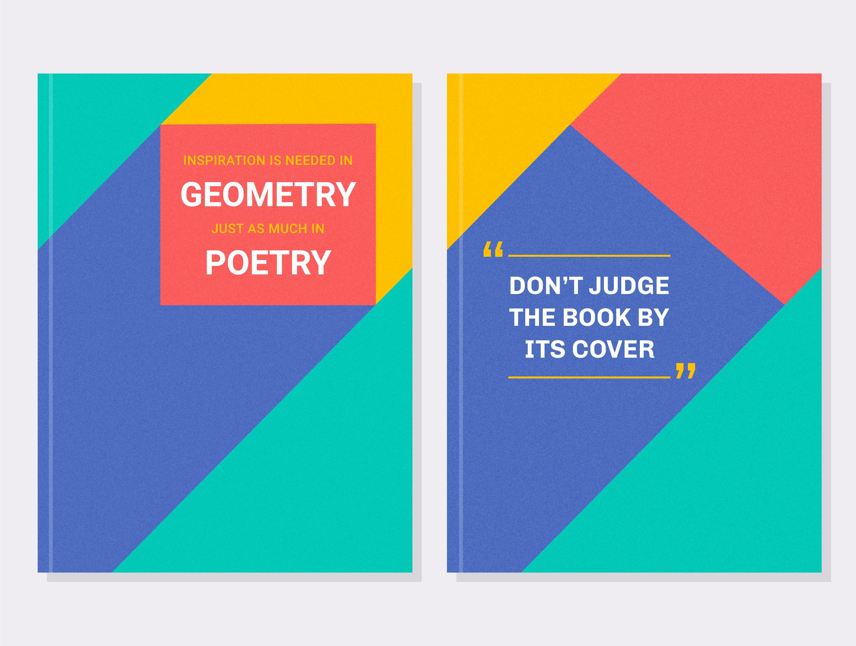 geometric motivational book cover vector set