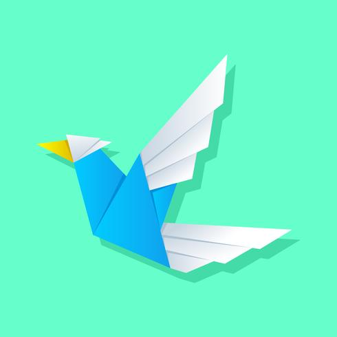 Flying White-Blue Bird Origami Animales Vector