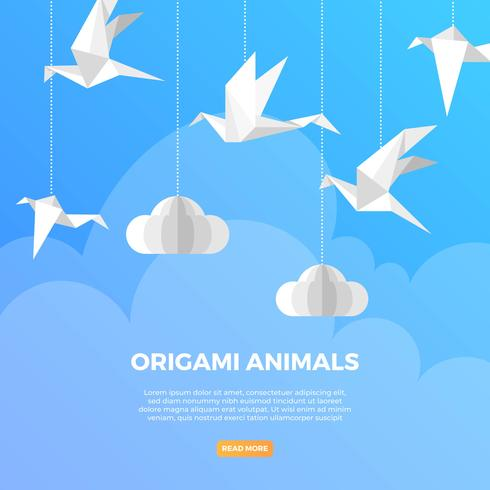 Oiseau plat Origami animaux avec Illustration vectorielle de fond minimaliste moderne