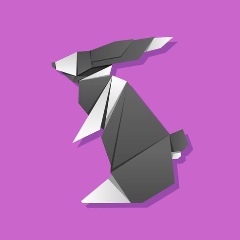 Standing Rabbit Origami Animals Vector