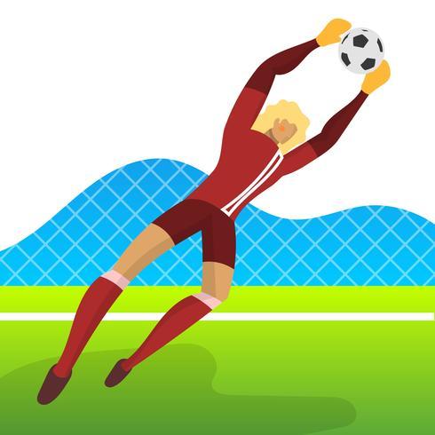 Guarda-redes de jogador de futebol moderno Minimalista Islândia para Copa do mundo 2018 Pegue uma bola com vetor de fundo gradiente ilustração