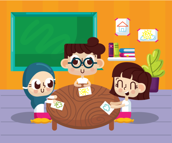 Classroom With Kids Vector