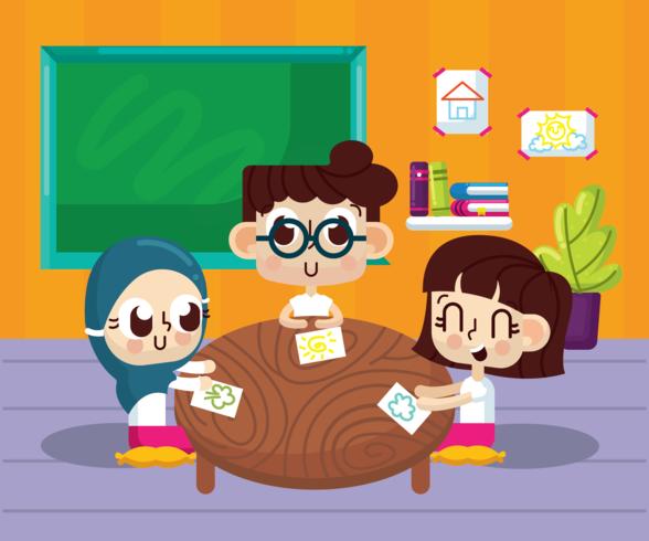 Klassenzimmer mit Kinder Vektor