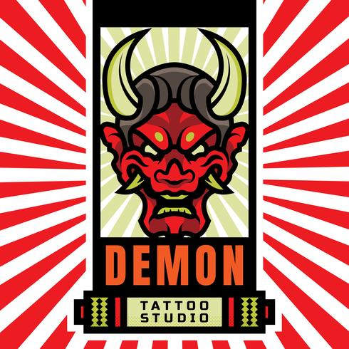 Logotipo de Japanese Demon Mask Tattoo Studio vector