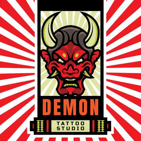 Logo japonais de tatouage de masque de démon