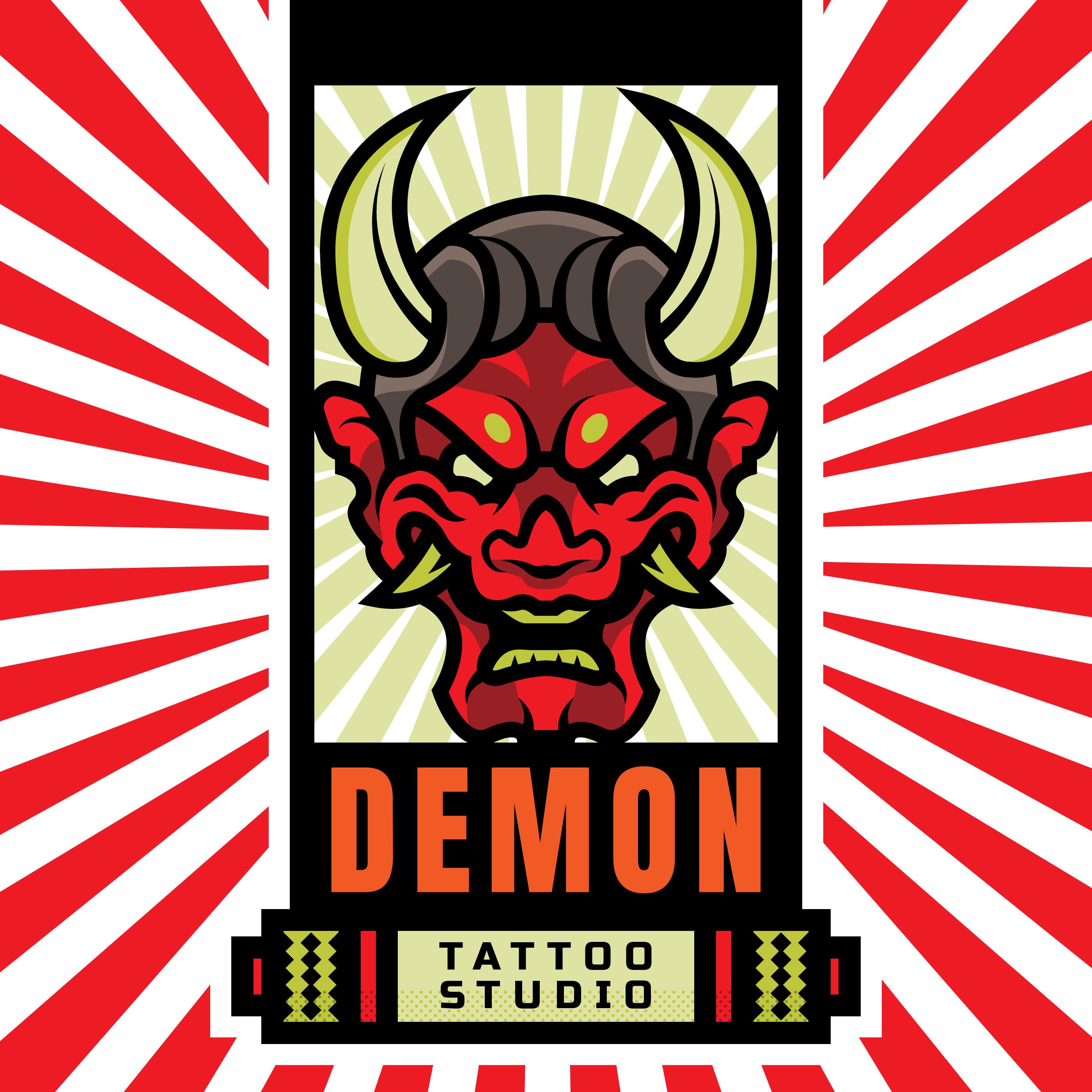 japanese demon mask tattoo studio logo download free