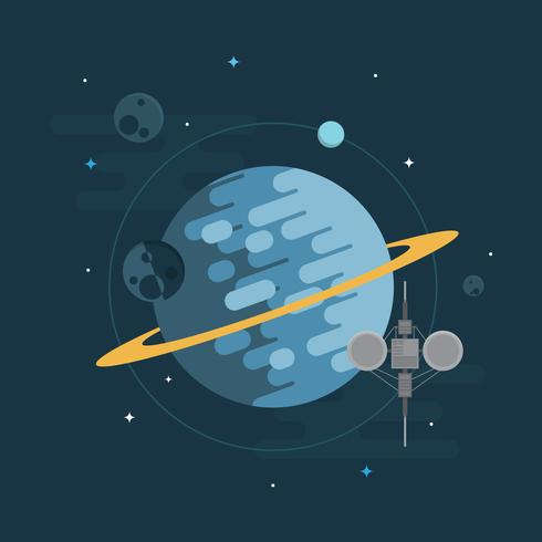 Space Elevator with Spaceship, Planet and Star Illustration