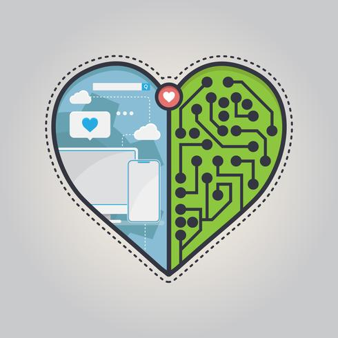 In Love With Technology Illustration. Het symbool van de liefdesymbool en technologie wordt weergegeven.