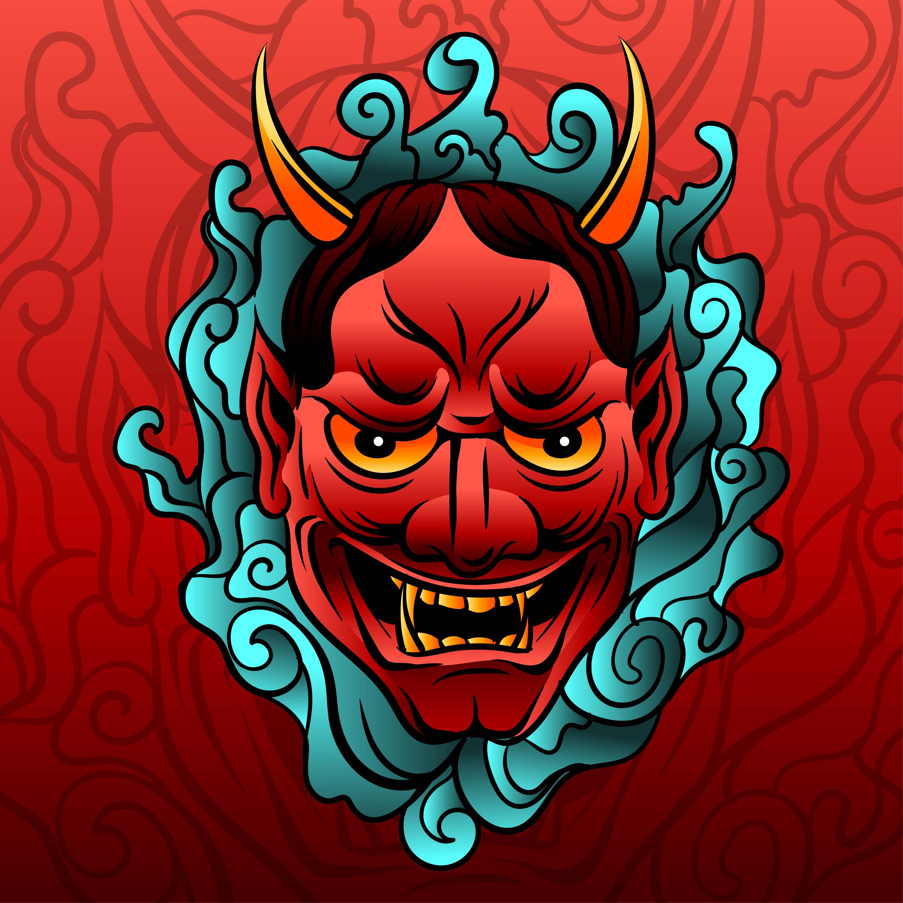 Top Free Oni Irezumi Backgrounds: Oni Mask Free Vector Art