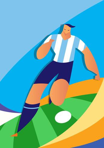 Argentina World Cup Soccer Player Illustration vector