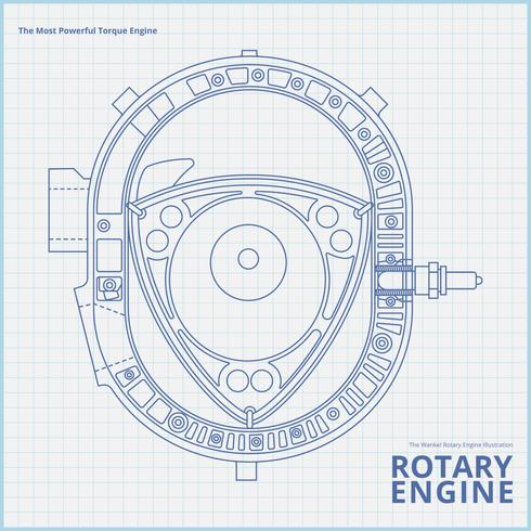Rotary Car Engine Drawing Illustration.