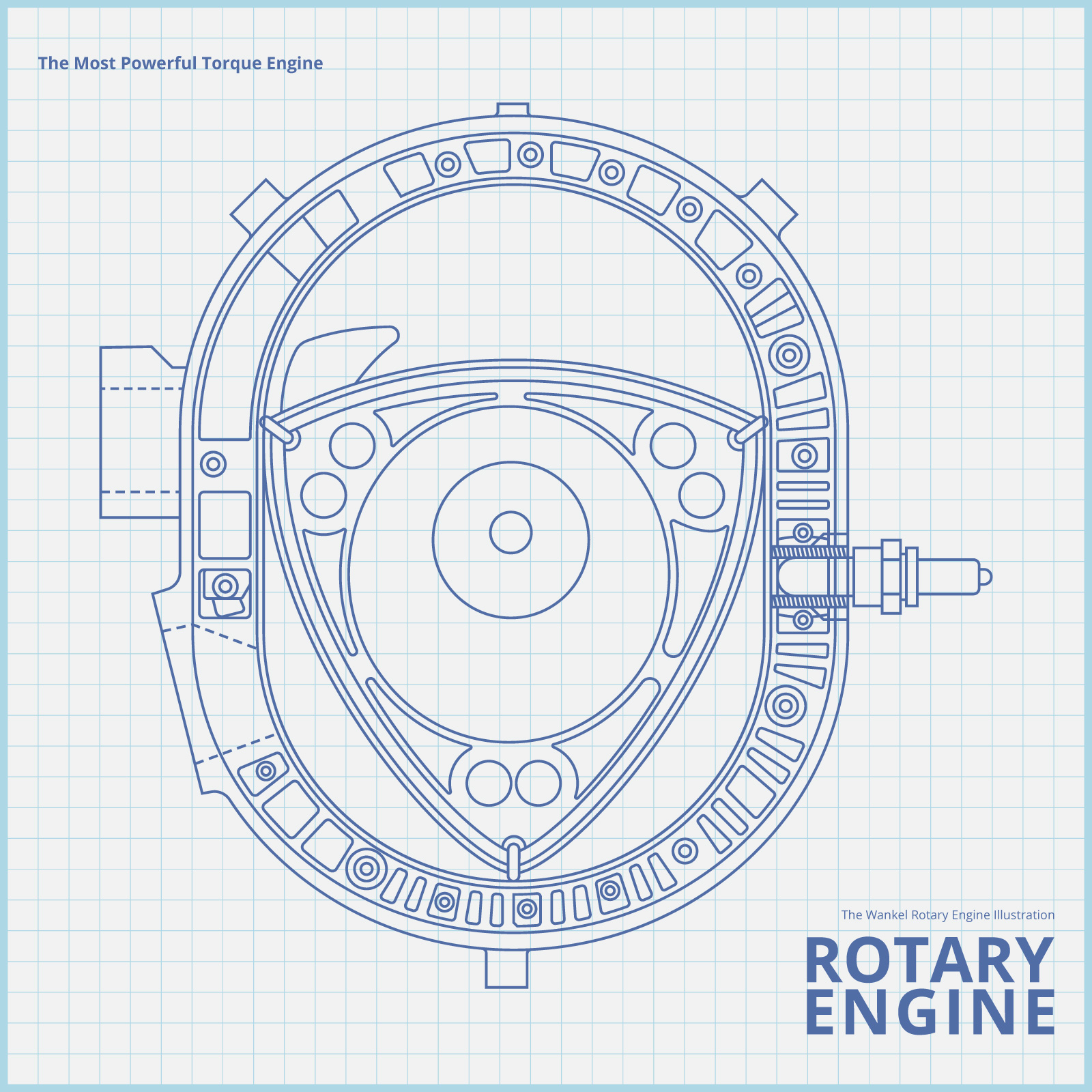 Rotary Car Engine Drawing Illustration  - Download Free