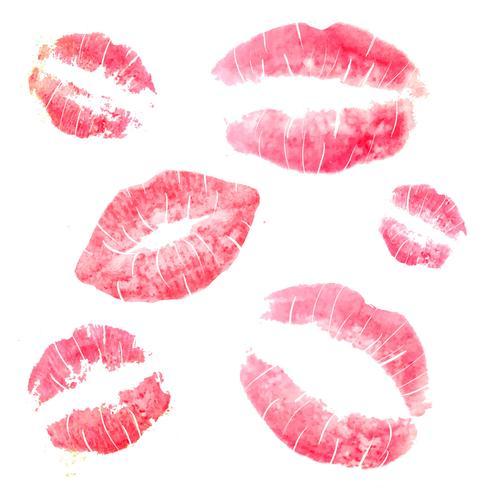 Linda colección de beso de labios vector