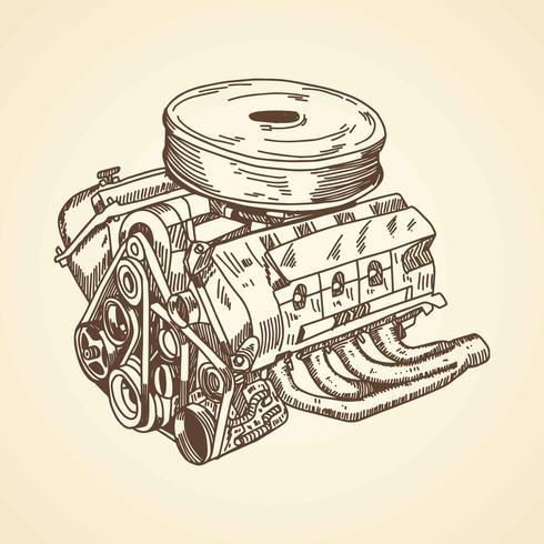 Car Engine Drawing