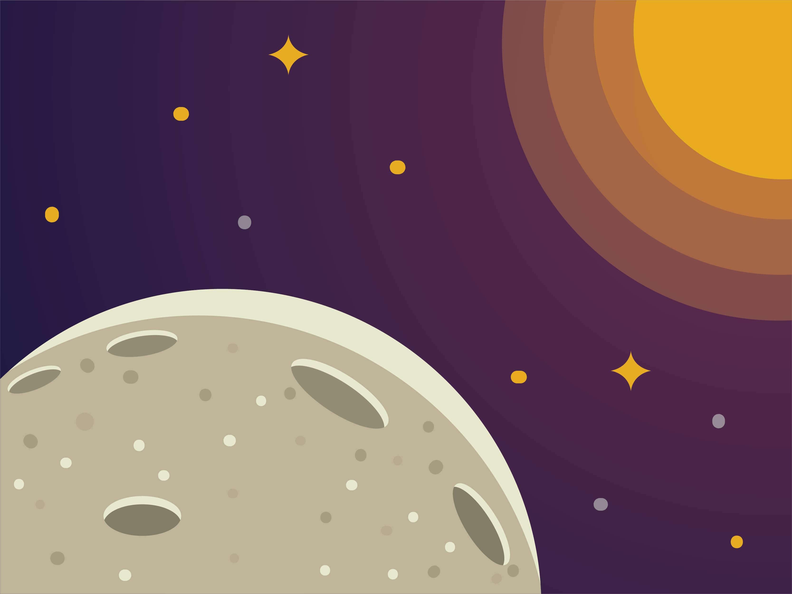 Moon Spacescape Illustration Download Free Vector Art