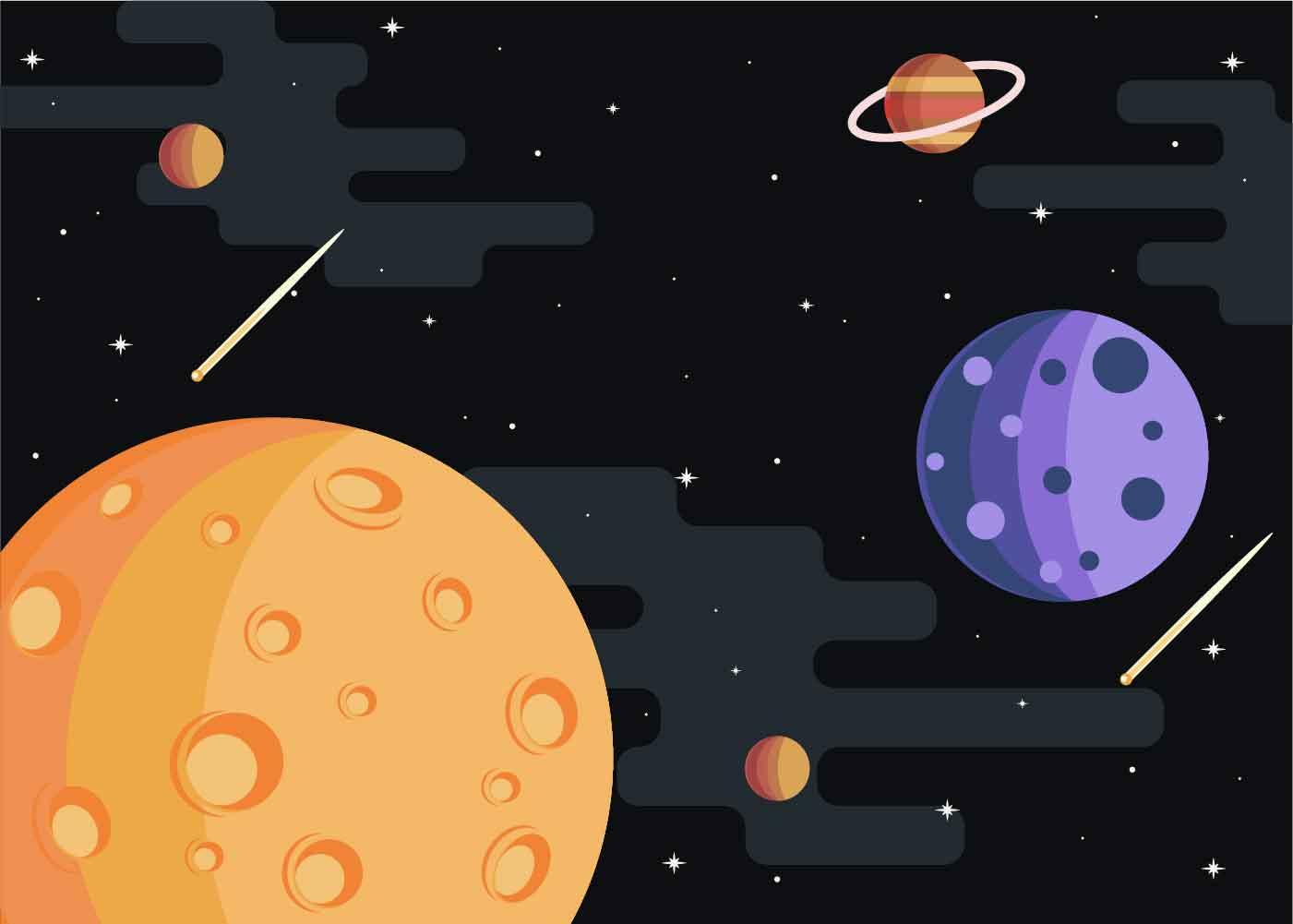 Moon Spacescape Illustration Vector Download Free Vector
