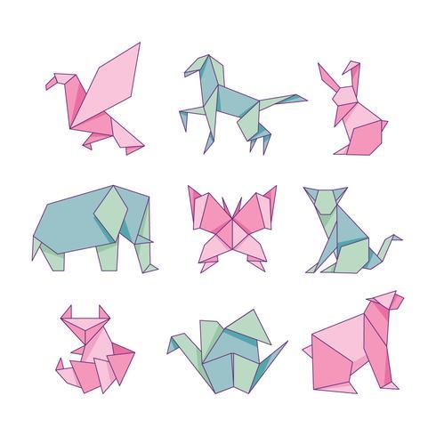 Conjunto de papel de animales de origami aislado sobre fondo blanco