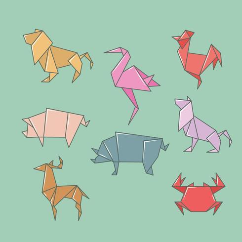 origami vilda djur uppsättning