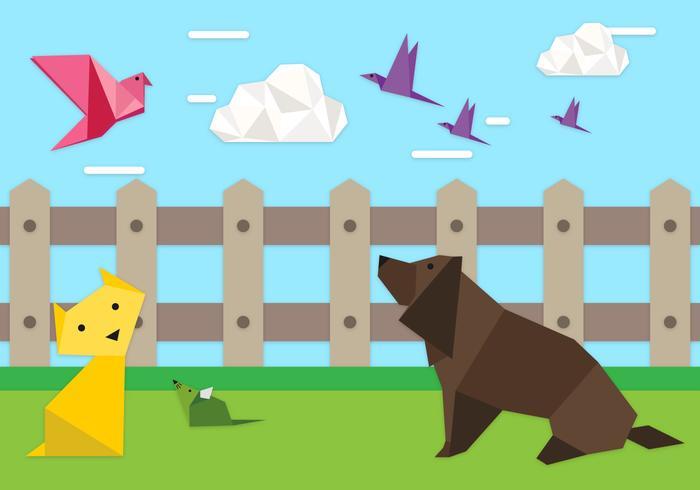 Illustration de fond des animaux origami