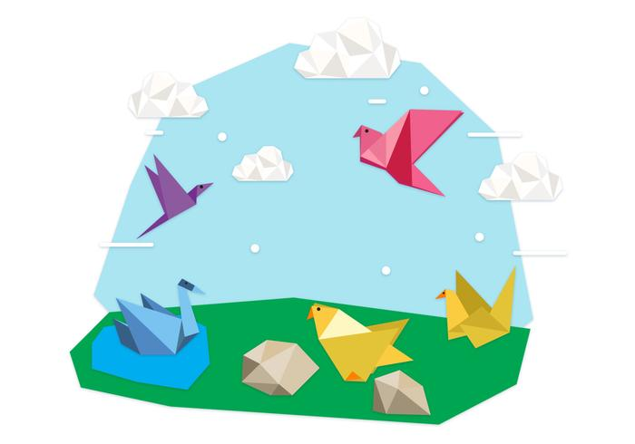 Origami Animals Background Illustration