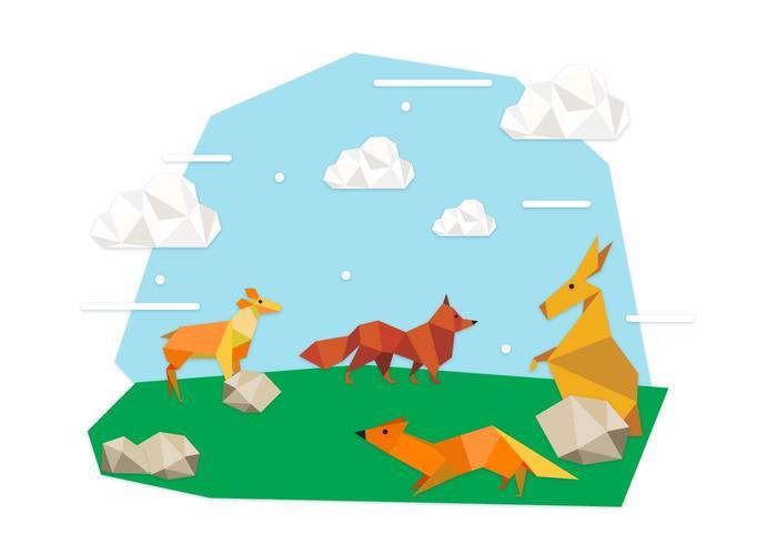 Origami Tiere Hintergrund Illustration