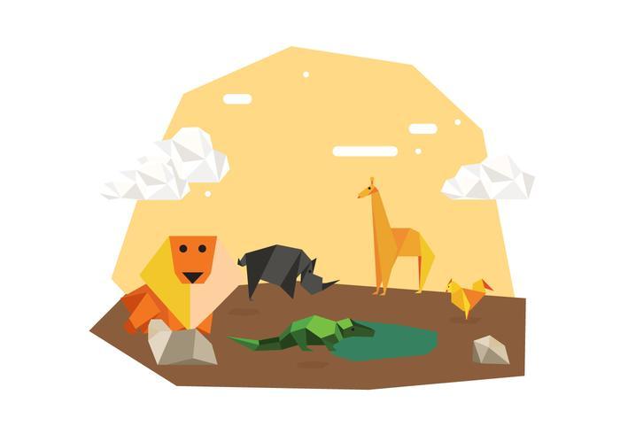 Ilustração de fundo de animais de origami