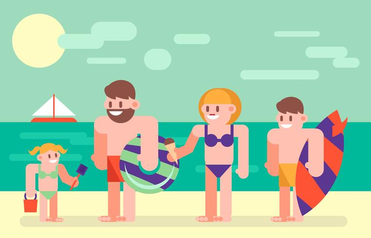 Familj Semester Holidays Flat Illustration Vector 2