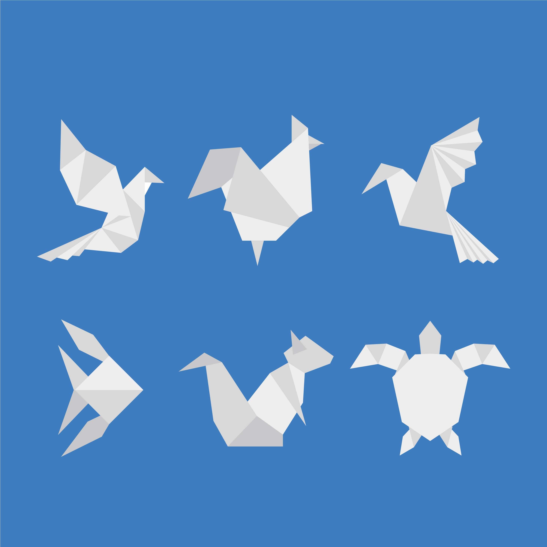 Lokta Paper Origami Pack - Blossom - WHITE ON BLUE   2917x2917