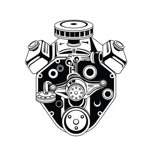 Ilustración monocromática del motor de coche