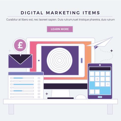 Artículos de marketing digital de vectores