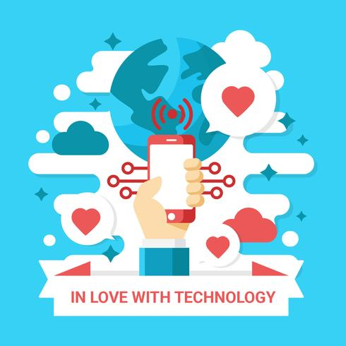 verliefd op technologie vector llustration