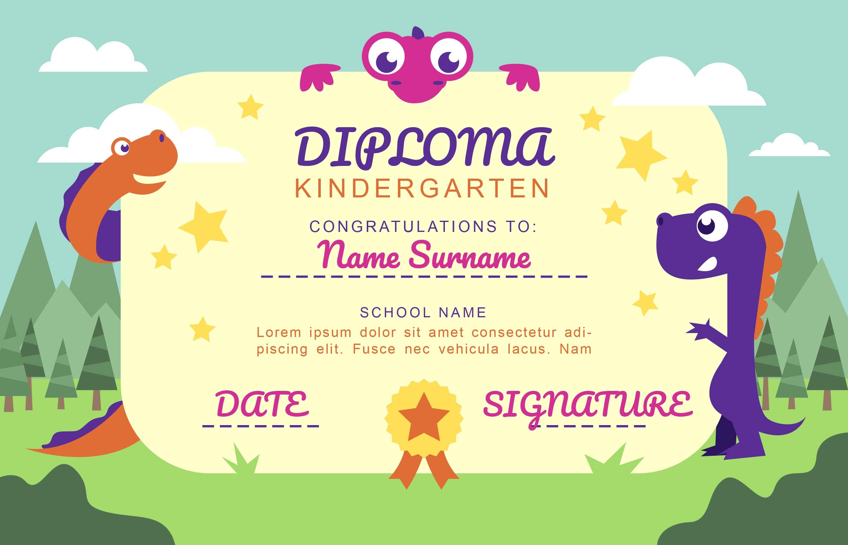 kindergarten diploma cartoon dinosaurs fun template vector