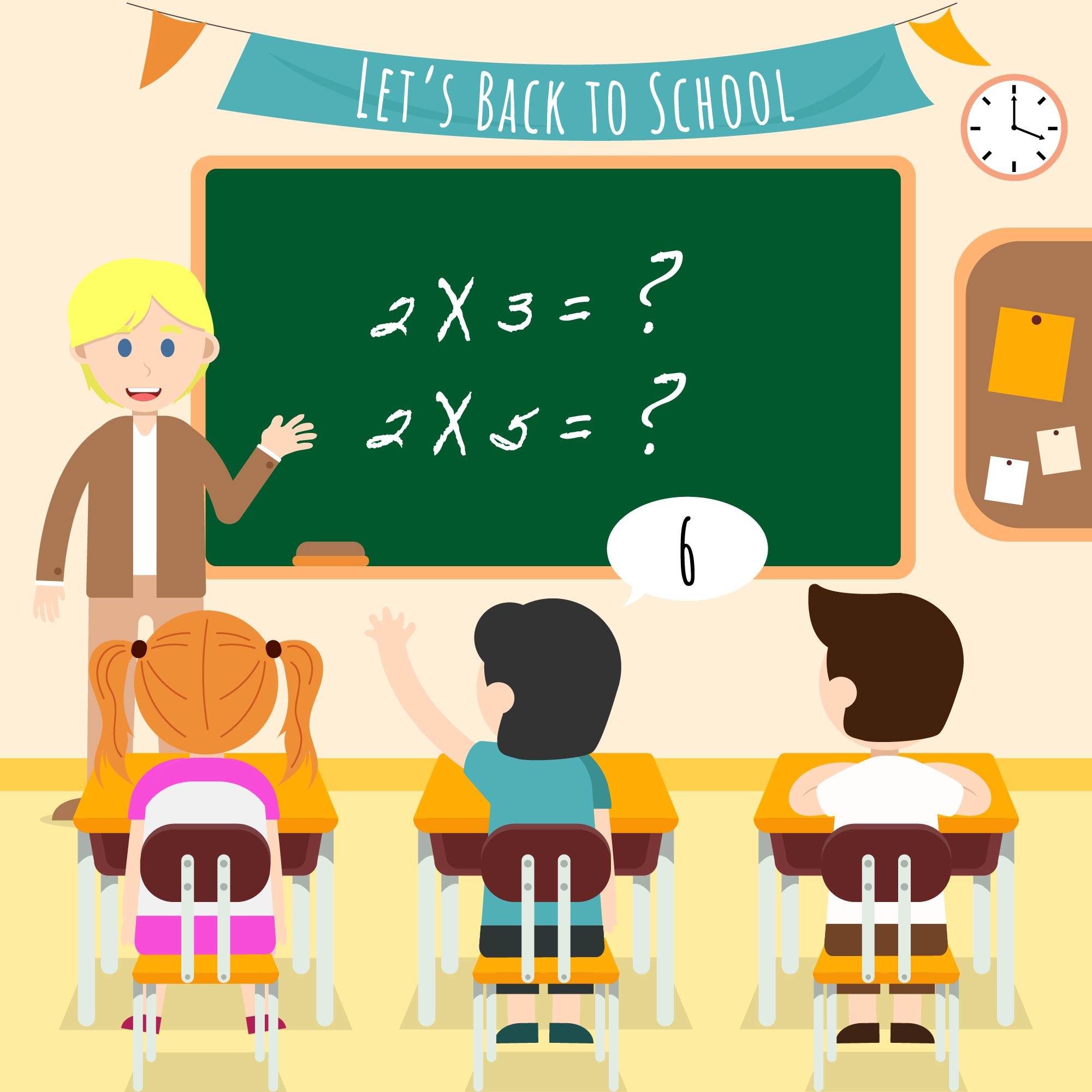 Kids In The Classroom Illustration Vector Download Free