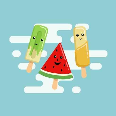 Colorful Summer Popsicles Vector Illustration