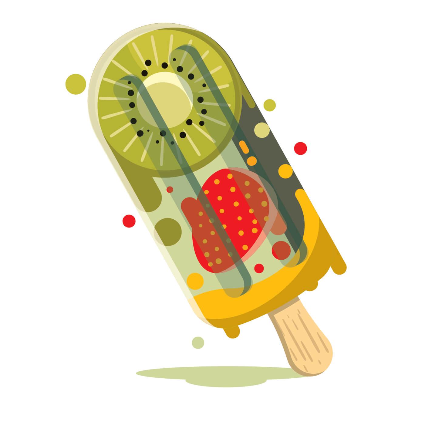 Fresh Ice Cream Stick In Summer Wallpaper Vector: Fun Illustration Of Summer Fruits Popsicle
