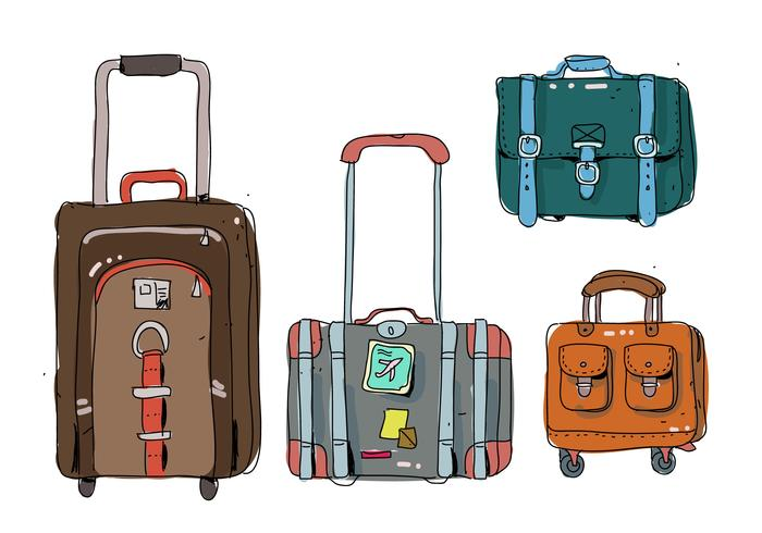 bagages rétro vintage illustration vectorielle dessinés à la main