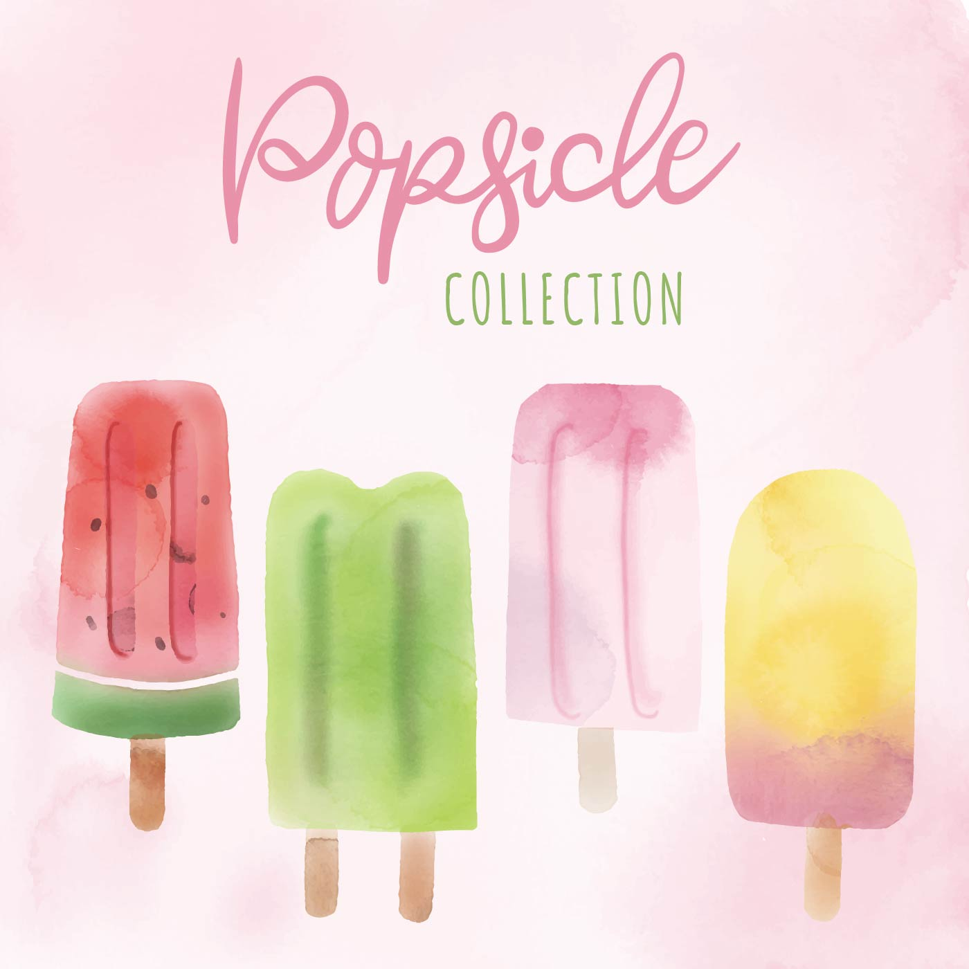 Fresh Ice Cream Stick In Summer Wallpaper Vector: Summer Popsicle Watercolor Vector Collection