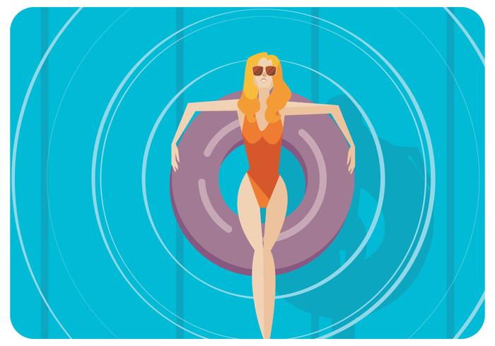 Woman in Swimmig Pool Vector