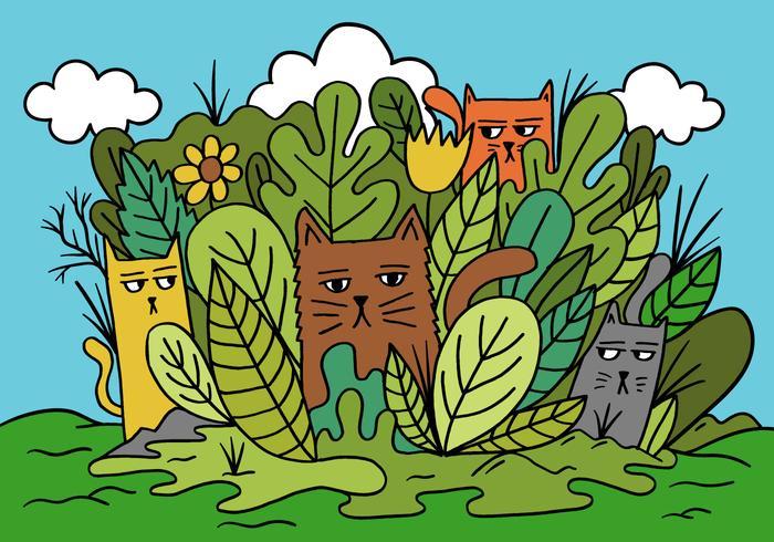 katter i en trädgård