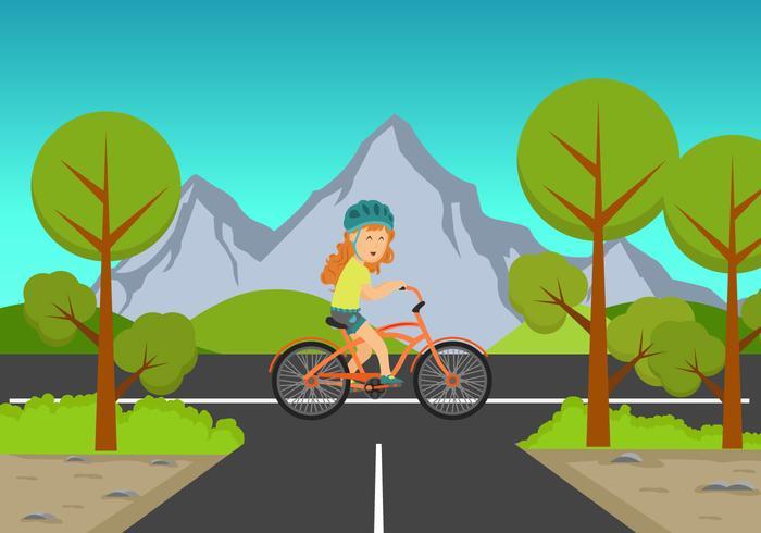 Menina, montando, um, bicicleta, fundo, ilustração