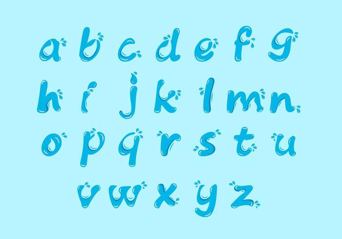 Conjunto de iconos de alfabeto de agua