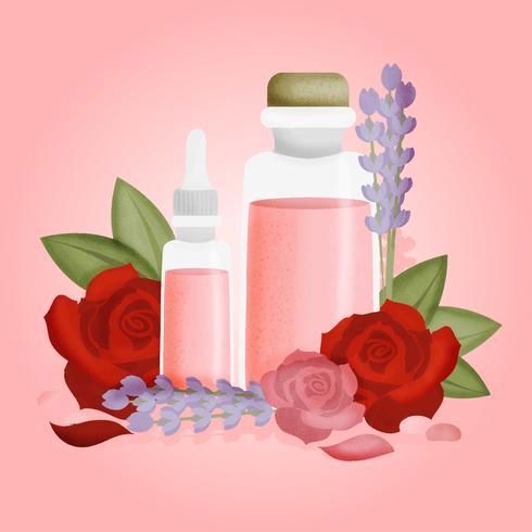 Ilustración de aceites esenciales de rosa de vector