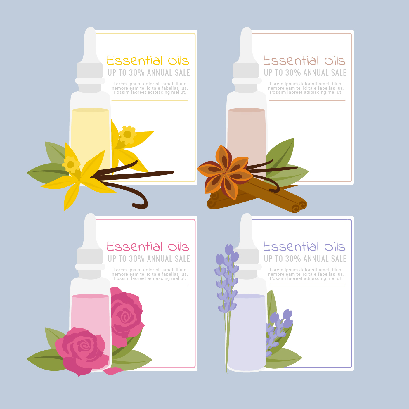 vector essential oils sale banners