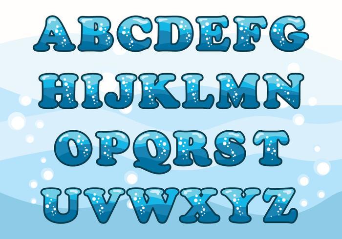 Conjunto de alfabeto de agua