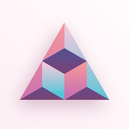 Pastel Colored Gradients 3D Geometric Triangle Hexagon Cube