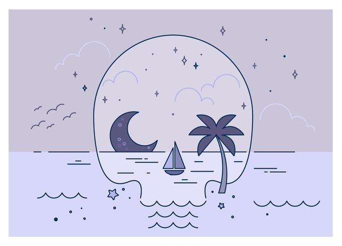 Skull Beach Vector